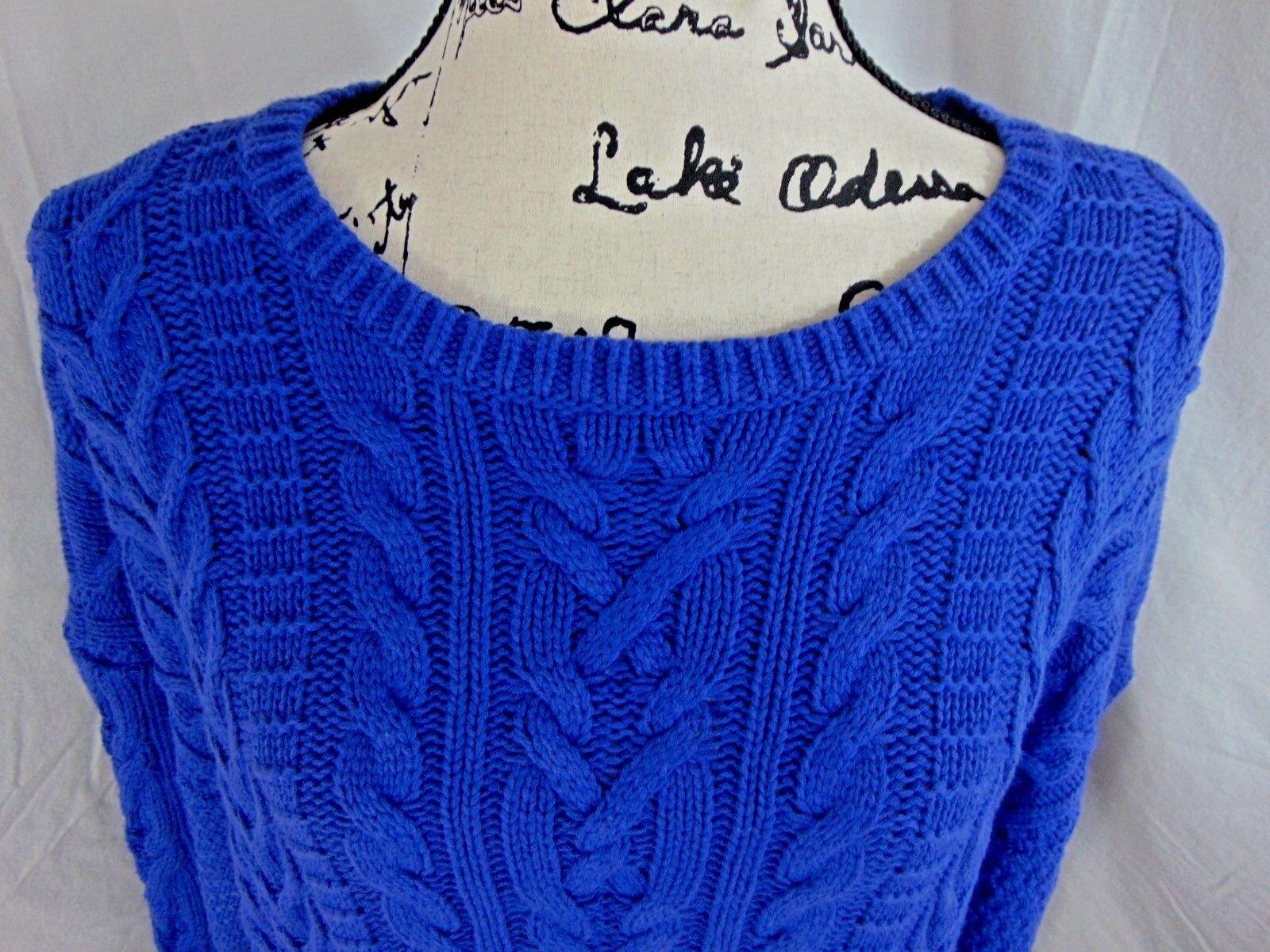 Lauren Ralph Lauren Woman 2X Royal bluee Cable Knit Sweater 1st Quality NWT