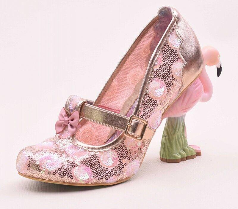 Women's Lady Flamingo Heel Court Embroidery Lace Mesh Wedding Bowknot Bowknot Bowknot shoes 1da546