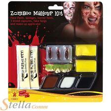 Zombie Make Up Kit Halloween Fancy Dress Face Paint Fake Blood & Liquid Latex
