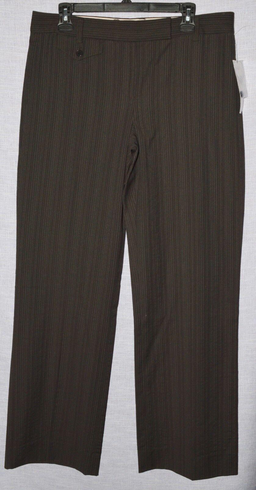 DKNY women KARAN NY NEW  245 SZ 12 L WALNUT BROWN WOOL DRESS BUSINESS PANTS NWT
