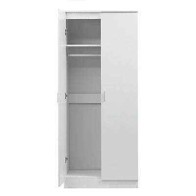 2 Door Soft Close Plain Wardrobe REFLECT in Gloss White Bedroom Matt White