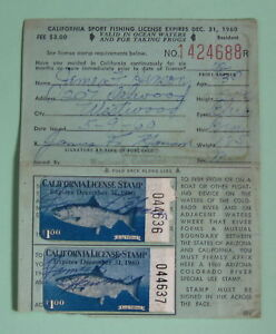 Details about 1960 California Dept of Fish & Game Resident Angling Fishing  License w/ Stamps