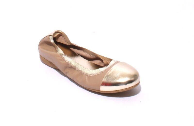 Mally 5207a Beige   gold Soft Leather Comfortable Ballet Flats 35   US 5