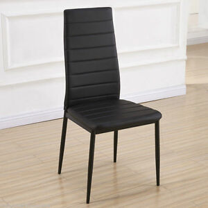 Montero designer black faux leather dining chairs metal for Leather dining chairs with metal legs