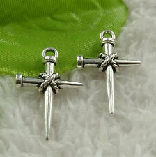 Free Ship 248 pieces tibet silver cross charms 24x16mm #4535