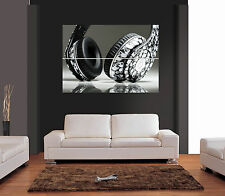 DJ HEADPHONES SKULL DESIGN Giant Wall Art Print Picture Poster
