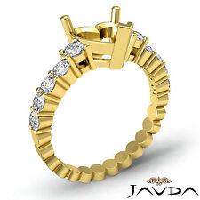 Diamond Engagement Heart Semi Mount Shared Prong Set Ring 18k Yellow Gold 0.70Ct