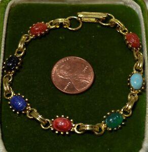Vintage-Scarabee-Coleoptere-Lien-Noir-Vert-Bleu-Cab-or-Ton-75-034-Bracelet-7N-30