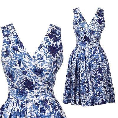 Leinen Kleid blau weiß blue white 50er Vintage Look Rockabilly Dress H&M 36 S M