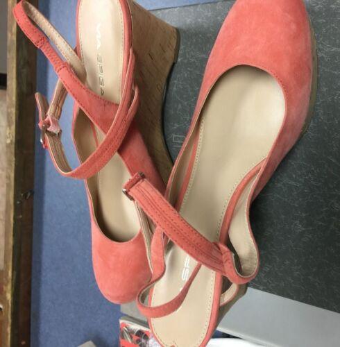 Nib 8 Slide On Spiga Slingback 5m Heel Wedge Cork Via Papaya Suede Sz PfO5wWOXnq