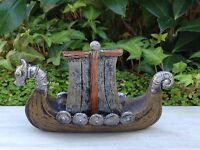 Miniature Dollhouse Fairy Garden Viking Village Small Boat W Silver Dragon