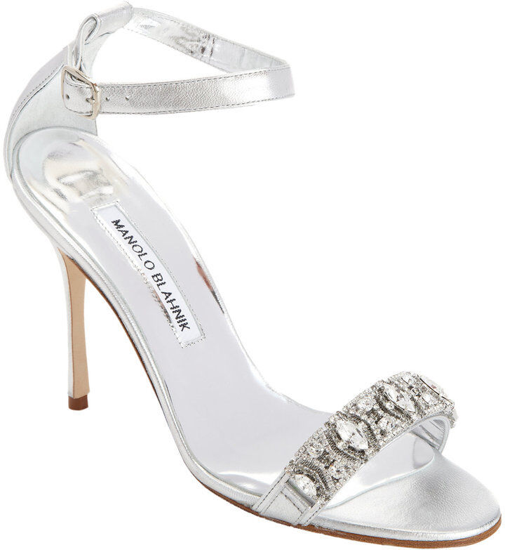 NEW Manolo Blahnik CHAMOSCA 105 Sandals Silver CRYSTALS Wedding shoes 40.5