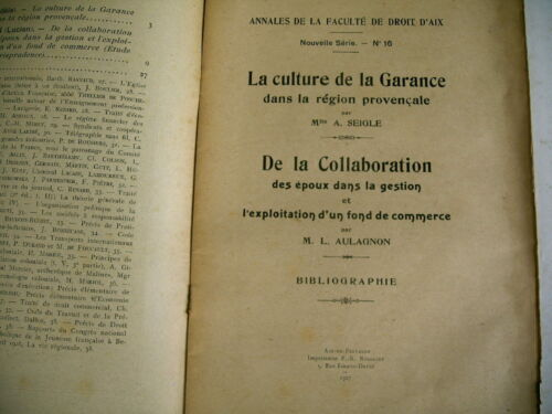 agriculture CULTURE DE LA GARANCE région provence fac aix 1927
