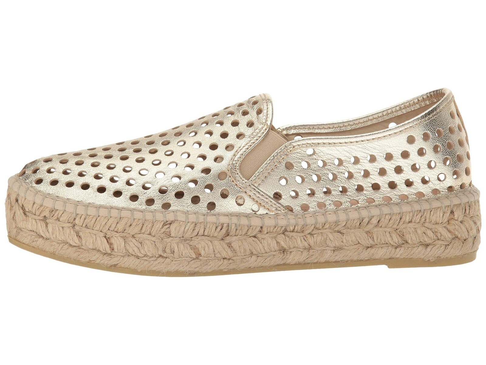 LOEFFLER RANDALL RANDALL RANDALL Rowan Perforated Leather gold Slip On Sneakers 40 10 NWOB  225 1cc77d