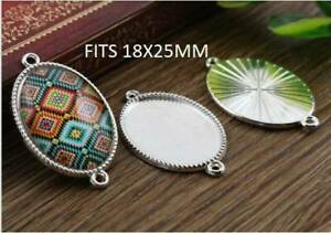 5 x Silver plated oval  cabochon blank pendant setting fits 10x 14mm DIY craft