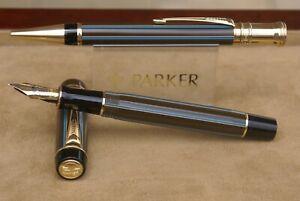 RARE parure de stylos (plume 18 kts+bille) Parker Duofold Centenial PINSTRIPE