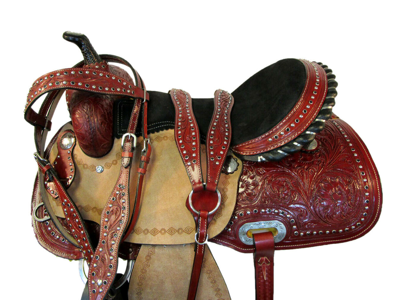 WESTERN COWBOY SADDLE 15 16 PLEASURE RACER RACING TRAIL strumentoED LEATHER BARREL