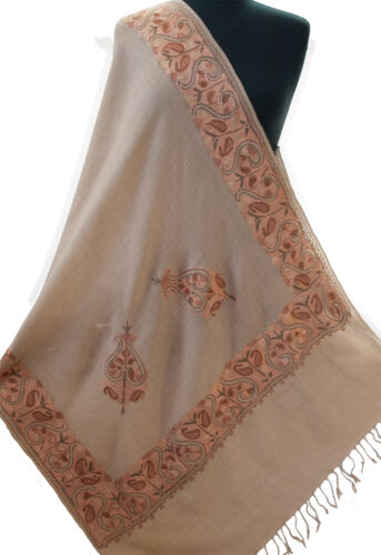 Crewel Embroidered Lovely Beige Wool Shawl From India Warm Tones Pashmina Style