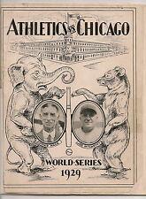 1929 World Series Program Philadelphia A's-Cubs A's Win in Five!!