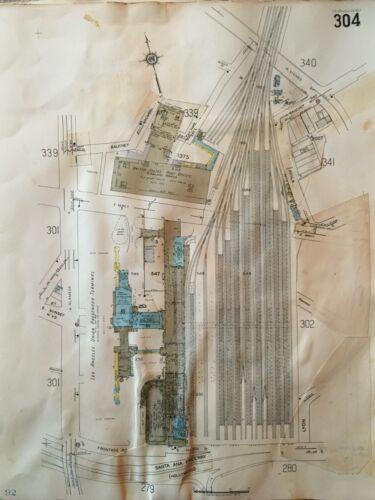 1953 DOWNTOWN LOS ANGELES CA HISTORIC UNION STATION SANBORN ATLAS MAP