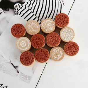 Fashion-DIY-Round-Writing-Wooden-Stamp-Rubber-Scrapbooking-Retro-Floral-Pattern