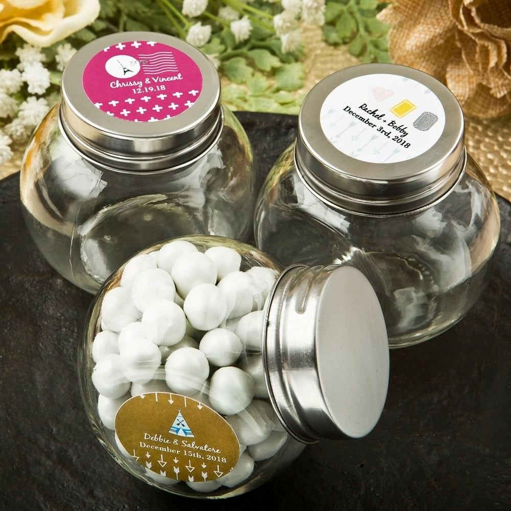 75 Personalized Wanderlust Treat Jars Wedding Bridal Baby Shower Party Favors
