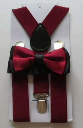 Many Cols CHILDRENS//KIDS//BOYS BRACES /& MATCHING PLAIN OR TWO TONE BOW TIE SETS