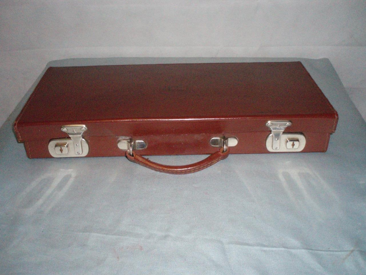 Inglesa Vintage rojo marrón gun music Cuero Funda. Cheney Cerraduras.