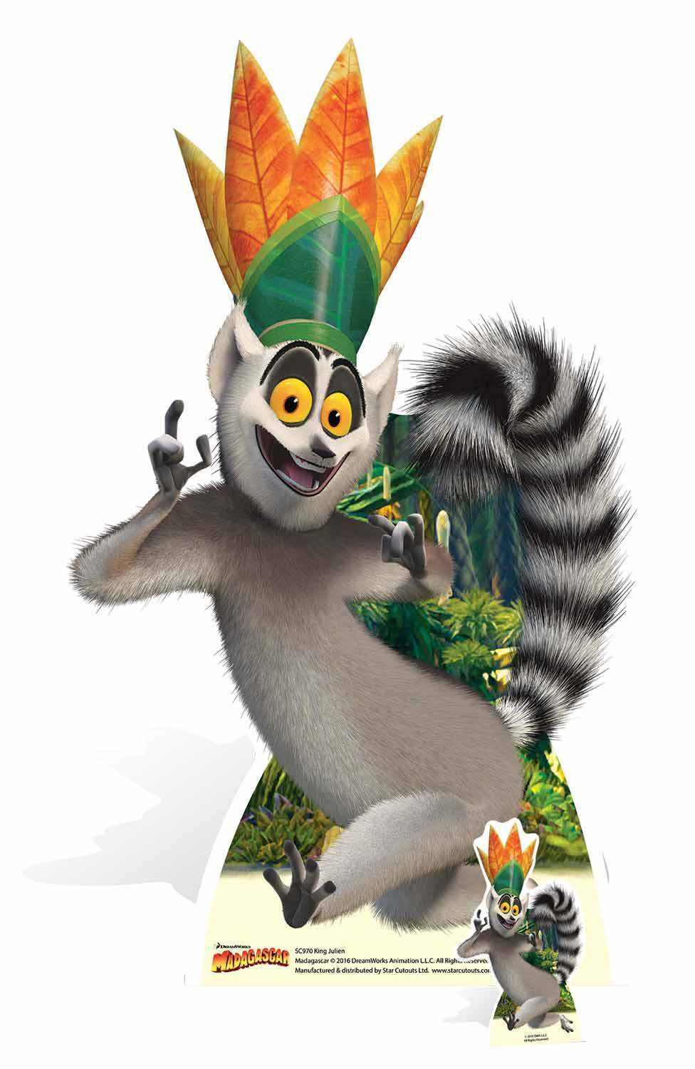 King Julien the Lemur from Madagascar LifeGröße and FREE Mini Cardboard Cutout