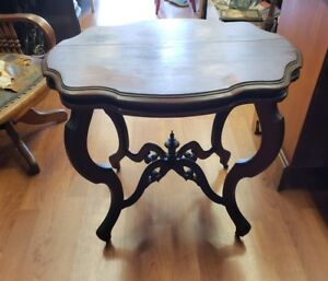 Image Is Loading Antique Walnut Turtle Top Table Circa 1890 039