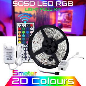 5M-RGB-5050-Waterproof-LED-Strip-Light-SMD-44-IR-Remote-12V-US-EU-Power-Full-Kit