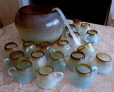 21 PC BLOWN GLASS PUNCH BOWL SET-SO. AMERICAN-18 CUPS-LADLE-PLATE OOAK RUSTIC