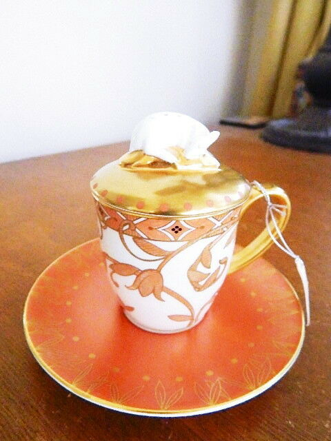 Prouna HESTIA LETO Covered Mocca Cup Cover & Saucer  DEER Finial 3 Pc Set - NEW
