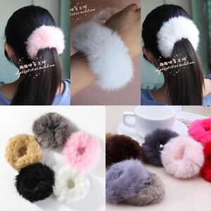 New Women Girls Fluffy Faux Fur Furry Scrunchie Elastic Hair Ring ... cf0ad9c3f0d4