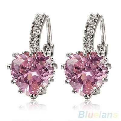 Women's 18K White Gold Plated Pink Crystal Charming Heart Leverback Earrings
