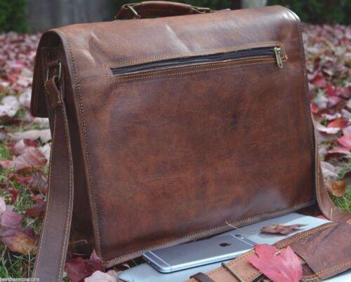 Men/'s Real Retro Vintage Leather Messenger Business Laptop Briefcase Satchel Bag