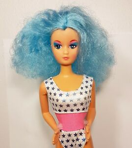super rare vintage fashion barbie rockers clone doll 80s curly blue