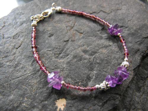 Ethnic Wicca purple glass beaded necklace bracelet AMETHYST VELVET collar XMAS