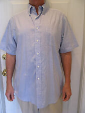 BROOKS BROTHERS  BASICS Blue Short Sleeve Button Down Pinpoint Cotton Shirt /16