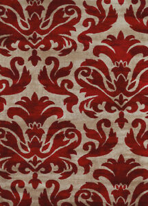 Red Contemporary Synthetics Damask Petals Curves Area Rug