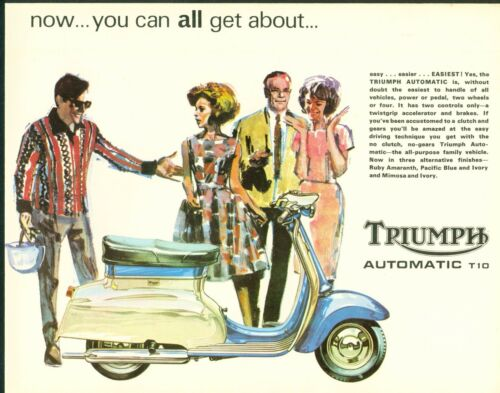Triumph T10 Automatic Scooter Brochure Poster catalogue  1966 Original