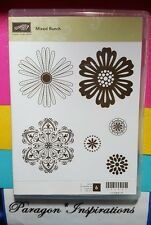 Retired Stampin Up Clear Mount MIXED BUNCH Flower Blossoms Medallions Floral