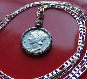 SILVER-JEWELRY-CHARM-MERCURY-DIME-PENDANT-ON-A-SILVER-CHAIN-choice-18-034-to-30-034