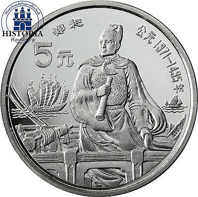 China 5 Yuan Silber 1990 Zheng He