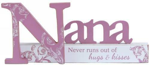"""NEW """"NANA"""" WOODEN SIGN CUTOUT TABLE TOP STAND SHABBY CHIC BUTTERFLY 23*10CM"""