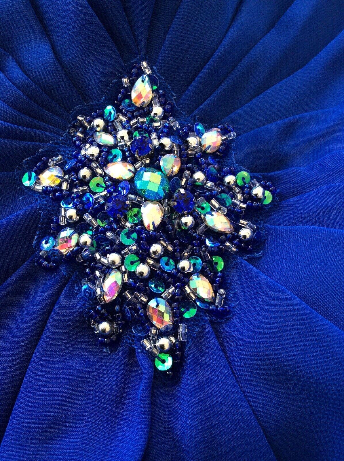 Dress Evening Dress Fox Size 12 Size 38 40 Front Slit Brooch Corsage Blue)