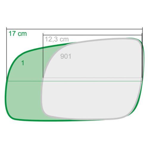 Mano Izquierda Lado Pasajero Vidrio Espejo Para Volkswagen Sharan 2000-2004 0001LS