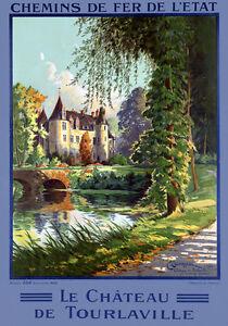 T88-Vintage-French-Le-chateau-de-Tourlaville-France-Travel-Poster-Re-Print-A4