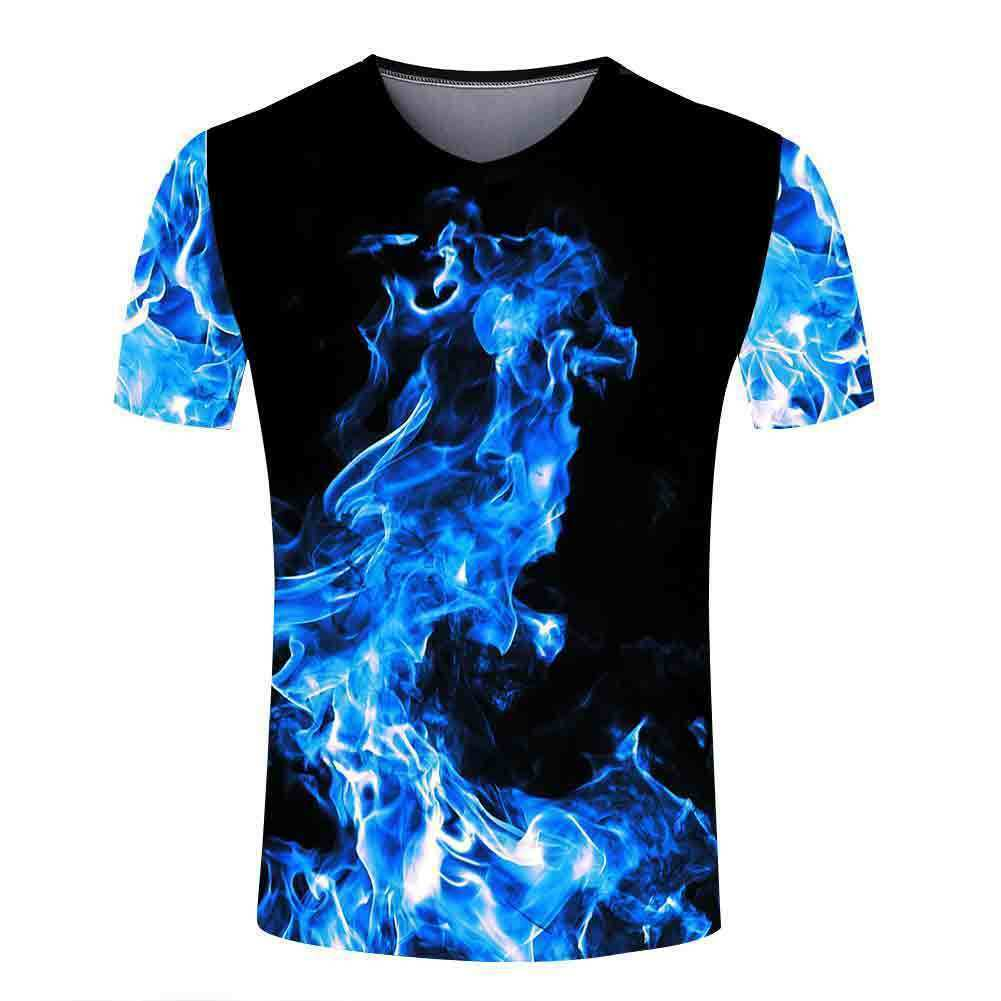 Summer New Womens/Mens Designs On Fire 3D Print Casual