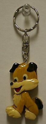 INTARSIA SOLID WOOD KEYCHAIN  KEY RING ANIMAL CUTE DOG PUPPY DOG MULTI COLOR NEW